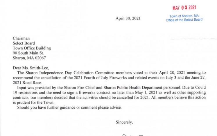 Sharon Independence Day celebration cancellation